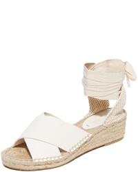 Sandales compensées en cuir blanches Soludos