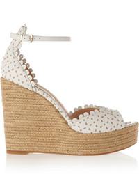 Sandales compensées en cuir blanches Tabitha Simmons
