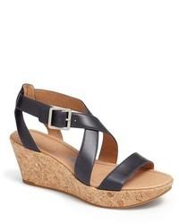Sandales compensées en cuir bleu marine