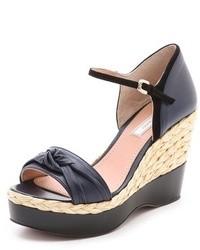Sandales compensées en cuir bleu marine Nina Ricci