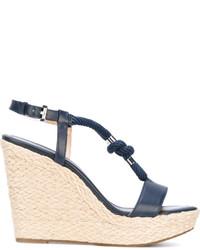 Sandales compensées en cuir bleues marine MICHAEL Michael Kors