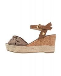 Sandales compensées en cuir brunes claires Tom Tailor