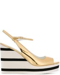Sandales compensées en cuir dorées Max Mara