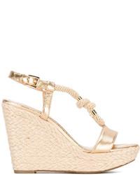 Sandales compensées en cuir dorées MICHAEL Michael Kors