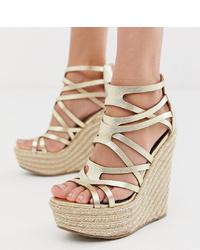 Sandales compensées en cuir dorées Miss Selfridge