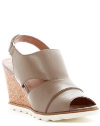 Sandales compensées en cuir grises