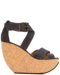 Sandales compensées en cuir grises Mini Market