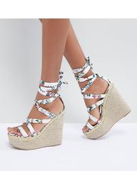 Sandales compensées en cuir imprimées blanches ASOS DESIGN