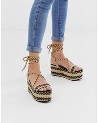 Sandales compensées en cuir imprimées marron clair Glamorous