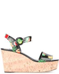 Sandales compensées en cuir imprimées noires Dolce & Gabbana
