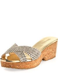 Sandales compensées en cuir imprimées serpent grises