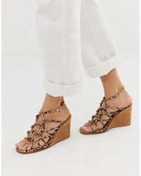 Sandales compensées en cuir marron clair ASOS DESIGN