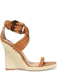 Sandales compensées en cuir marron clair Burberry