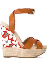 Sandales compensées en cuir marron clair Dsquared2