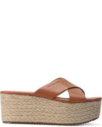 Sandales compensées en cuir marron clair MICHAEL Michael Kors