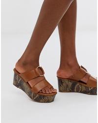 Sandales compensées en cuir marron ASOS DESIGN
