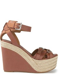 Sandales compensées en cuir marron Ralph Lauren