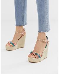 Sandales compensées en cuir multicolores Glamorous