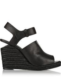 Sandales compensées en cuir noires Alexander Wang