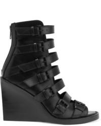 Sandales compensées en cuir noires Ann Demeulemeester