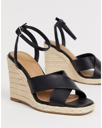 Sandales compensées en cuir noires ASOS DESIGN