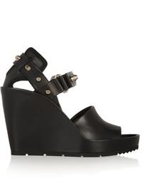 Sandales compensées en cuir noires Balenciaga