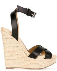 Sandales compensées en cuir noires Dsquared2