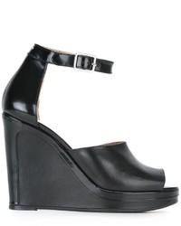 Sandales compensées en cuir noires Maison Margiela