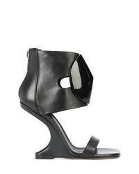 Sandales compensées en cuir noires Rick Owens