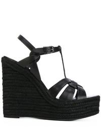 Sandales compensées en cuir noires Saint Laurent