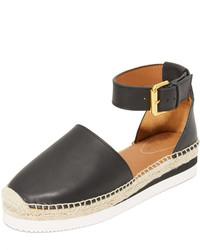 Sandales compensées en cuir noires See by Chloe