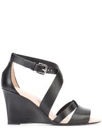 Sandales compensées en cuir noires Tod's
