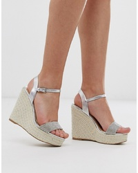 Sandales compensées en cuir ornées argentées Lipsy