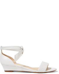 Sandales compensées en cuir ornées blanches Alexandre Birman