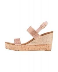 Sandales compensées en cuir roses Ilse Jacobsen