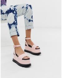 Sandales compensées en cuir roses Lamoda