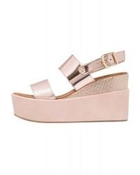 Sandales compensées en cuir roses Tata Italia