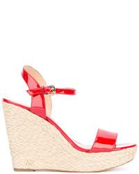 Sandales compensées en cuir rouges MICHAEL Michael Kors