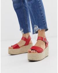 Sandales compensées en cuir rouges New Look