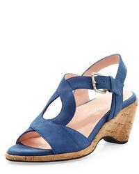 Sandales compensées en daim bleues