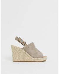 Sandales compensées en daim grises Toms