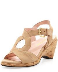 Sandales compensées en daim marron clair