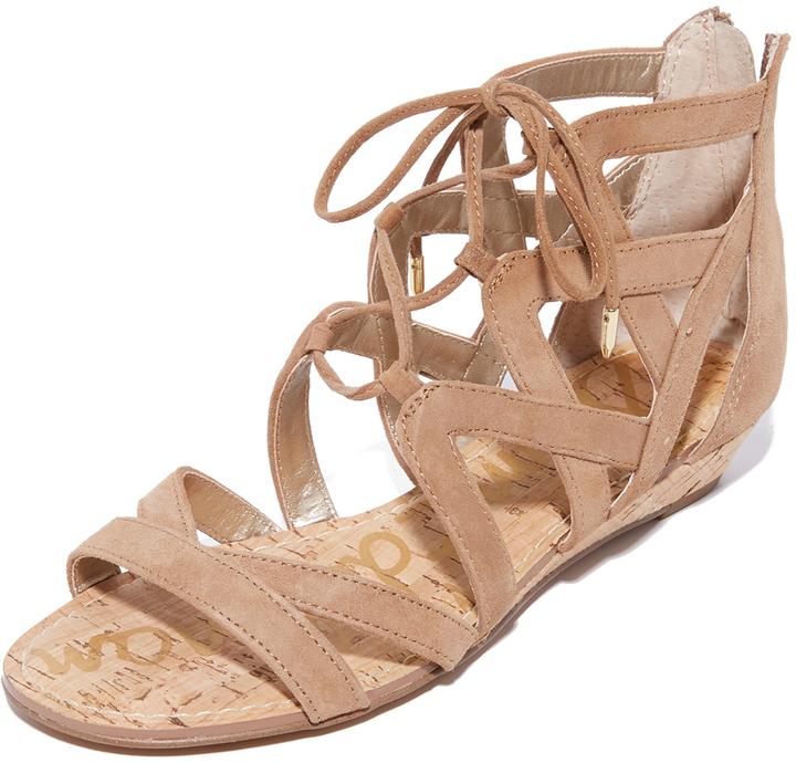 Sandales compensées en daim marron clair Sam Edelman