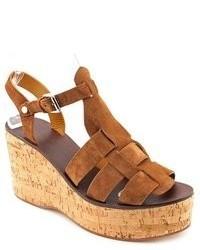 Sandales compensées en daim marron