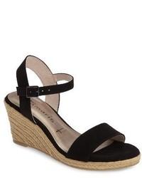 Sandales compensées en daim noires