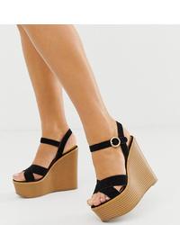 Sandales compensées en daim noires ASOS DESIGN