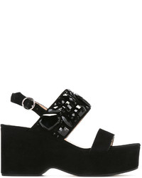Sandales compensées en daim ornées noires Marc Jacobs