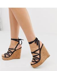 Sandales compensées en satin noires Missguided