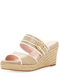Sandales compensées en toile beiges