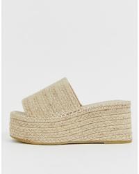 Sandales compensées en toile beiges RAID